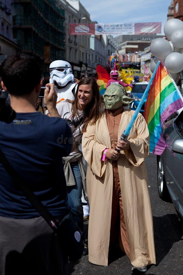 Yoda in Brighton Gay Pride 2011 stock photos