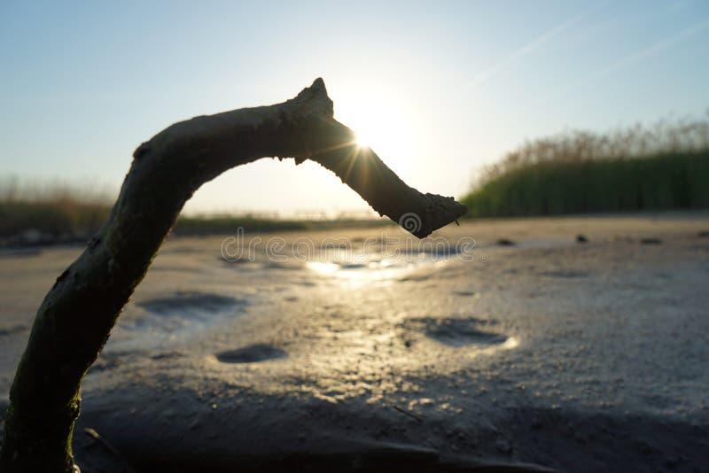 Yodogawa-Sonnenuntergang lizenzfreies stockbild