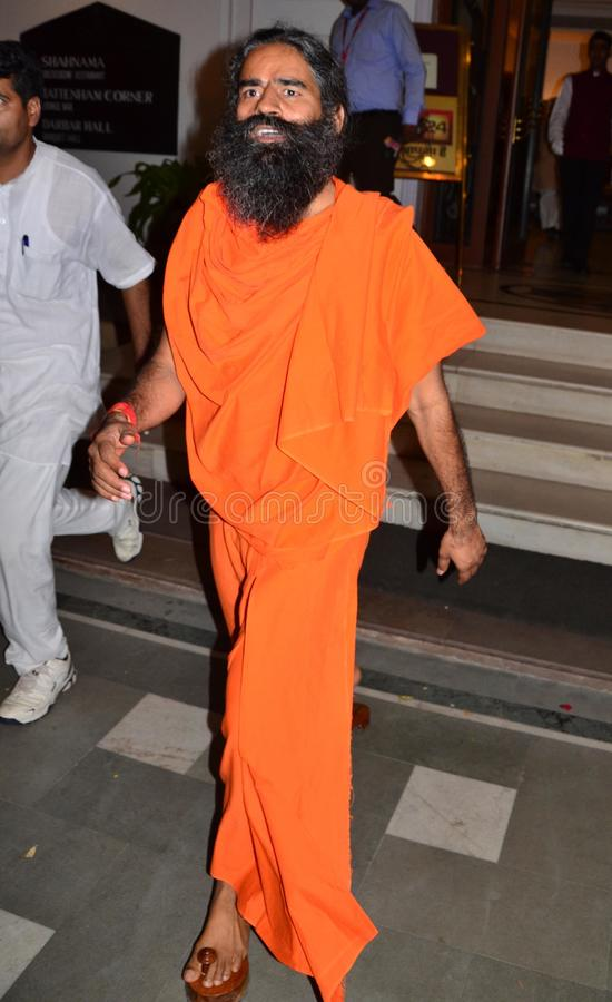 Yog guru baba Ramdev. During his visit in Bhopal, India naddressing the press people royalty free stock photography