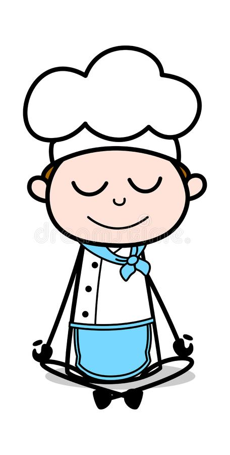 Yogaövning - tecknad filmuppassareMale Chef Vector illustration vektor illustrationer