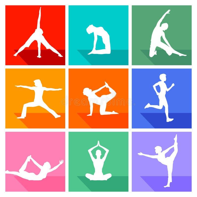 Yogaövningskonturer stock illustrationer