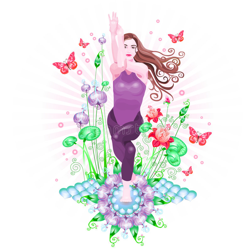 Download Yoga stock illustration. Illustration of leaf, butterflies - 1167351