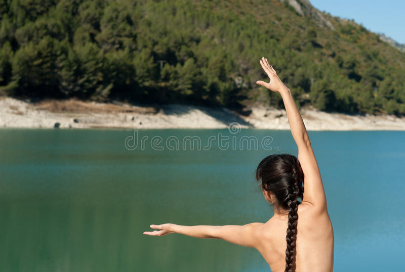 Download Yoga stock photo. Image of inspiring, hispanic, lakeside - 19017406