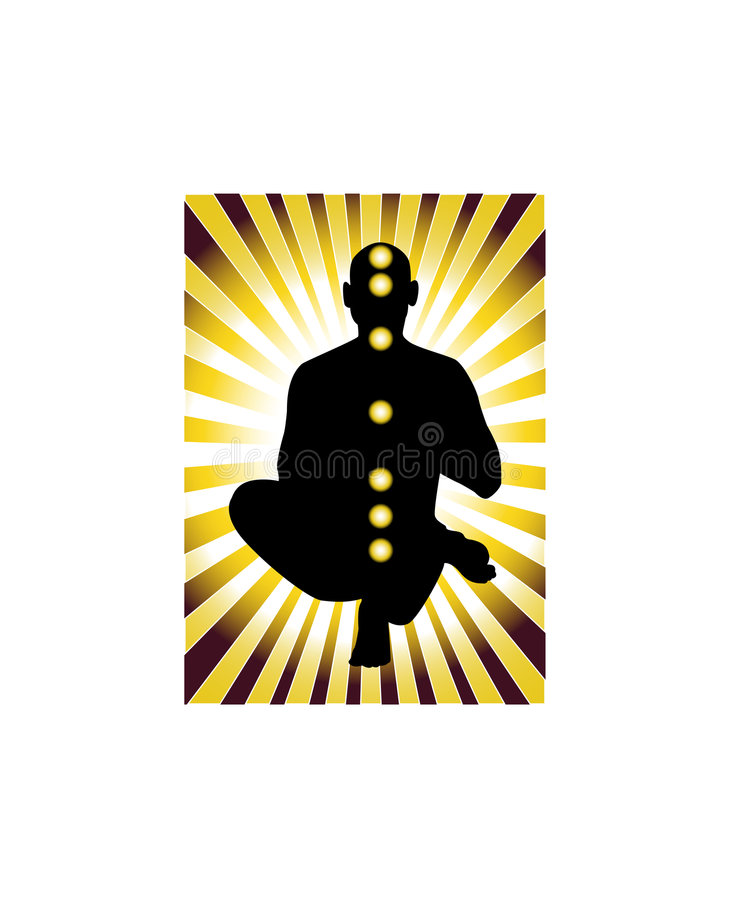 Yoga. Yogi in the lights with chakra points stock illustration