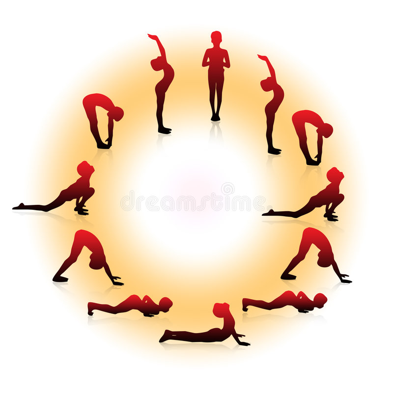 Yoga poses. Boy make yoga surya namaskar poses with circle