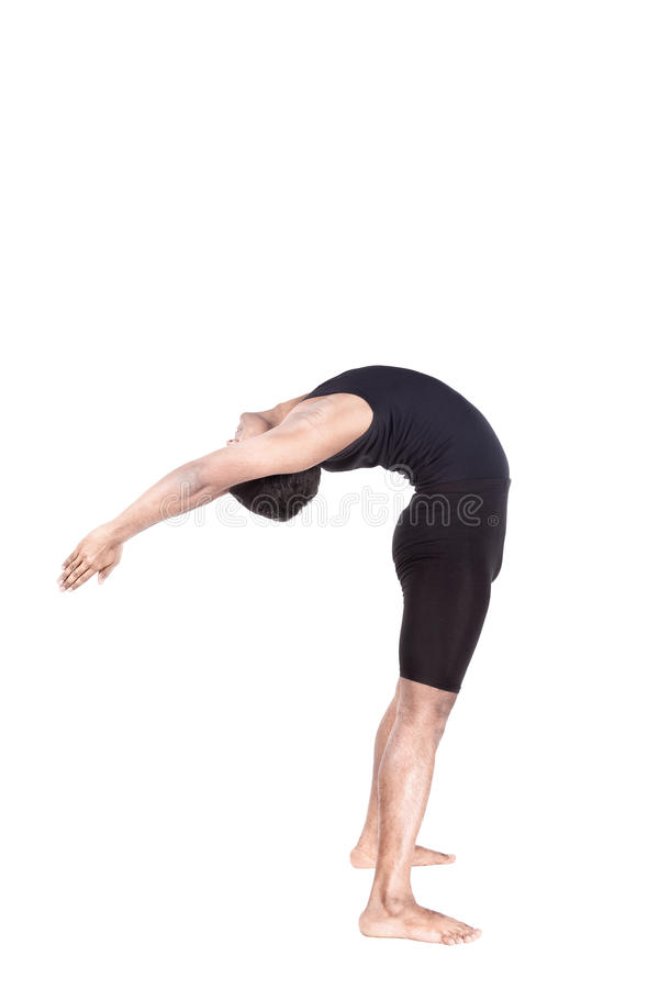 Yoga al revés que dobla foto de archivo