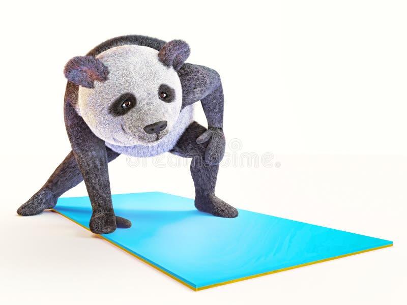 Yoga animal de panda d'ours de caractère de personnalité étirant différents postures et asanas d'exercices illustration libre de droits
