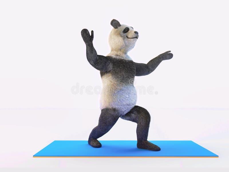 Yoga animal de panda d'ours de caractère de personnalité étirant différents postures et asanas d'exercices illustration stock