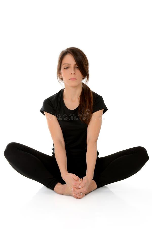 Download Yoga Asana Bound Angle Pose Baddha Konasana Butterfly Stock Image