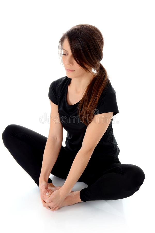 Download Yoga Asana Bound Angle Pose Baddha Konasana Butterfly Stock Photo