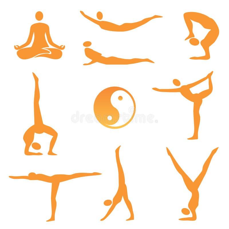 Yoga_asanas_ ikony royalty ilustracja