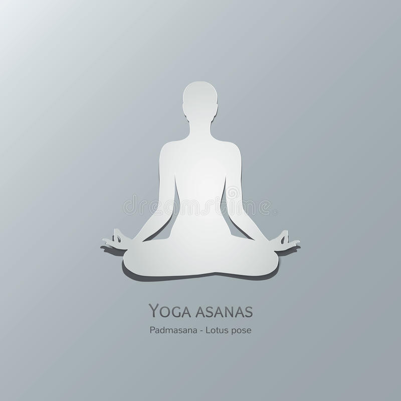 Yoga asanas. Padmasana. Lotus pose. stock illustration
