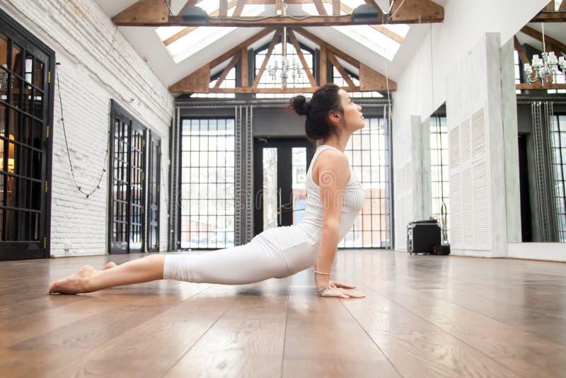 Yoga au centre de fitness : Pose ascendante de chien de revêtement photo libre de droits
