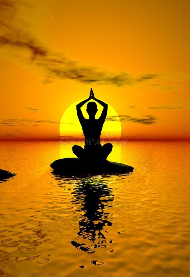 Yoga au coucher du soleil illustration libre de droits