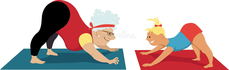 Yoga avec la grand-maman illustration stock