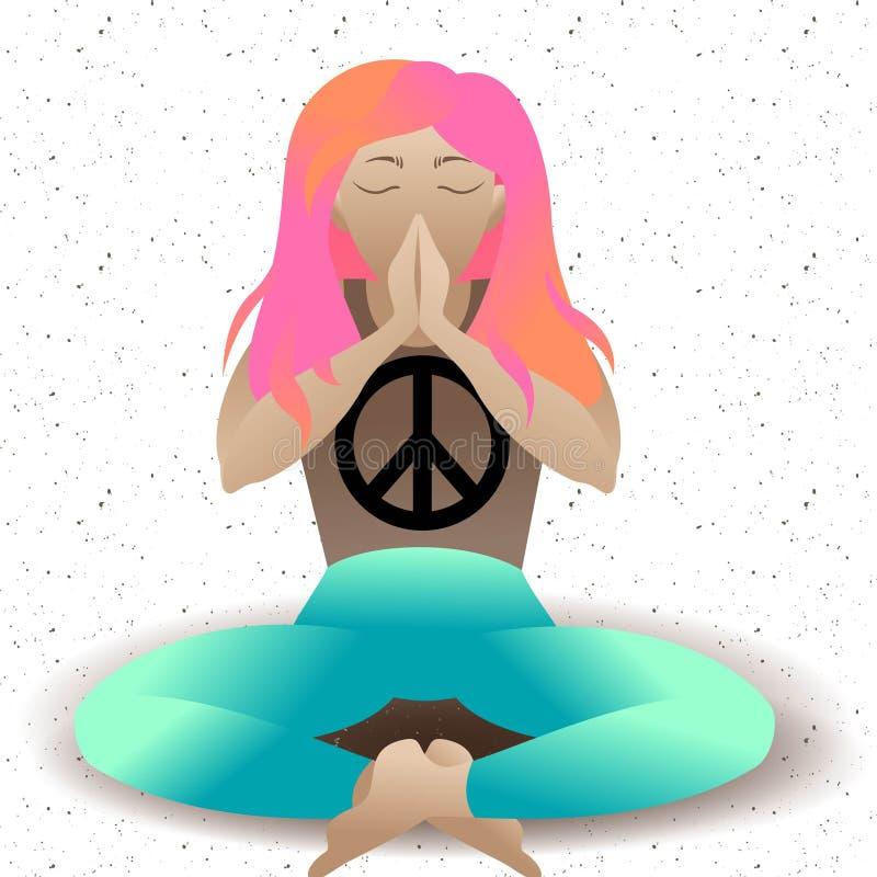 yoga b?n Stillahavs- symbol av fred Kvinna i meditationlotusblommapositionen, plan illustration Avkopplingtecknad filmflicka stock illustrationer