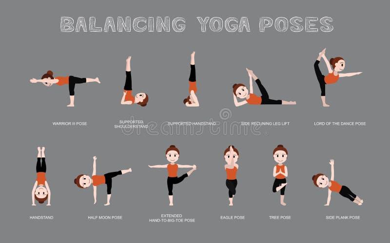 Yoga Balancing Poses Vector Illustration. Yoga Posture EPS10 File Format stock illustration