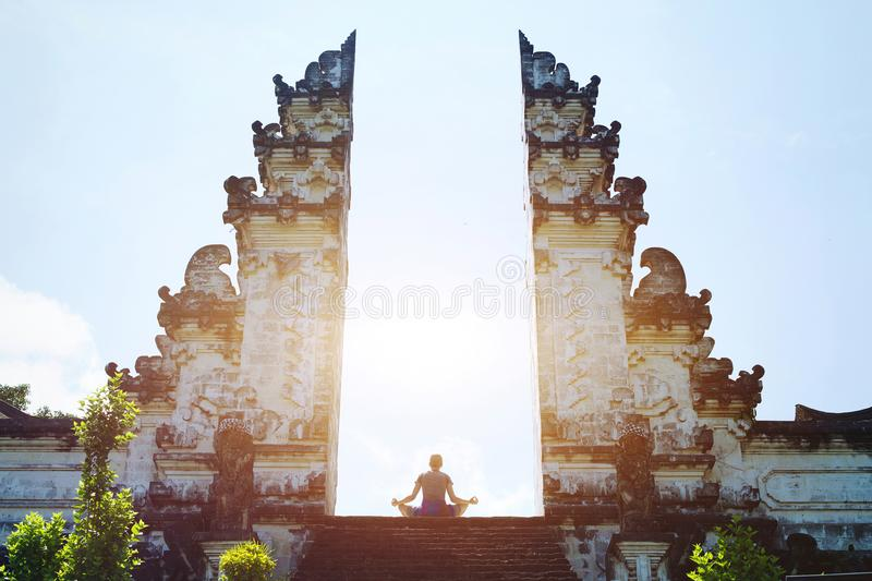 Yoga in Bali, meditation in the temple, spirituality royalty free stock images