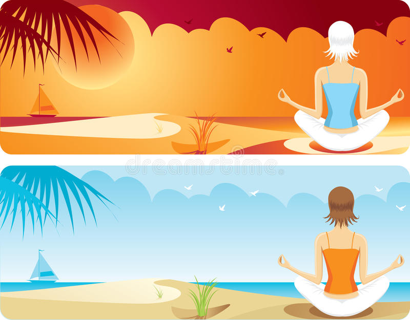 Yoga At The Beach Stock Image