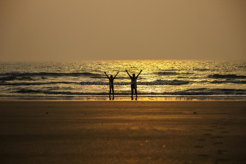 Yoga on Beach stock image