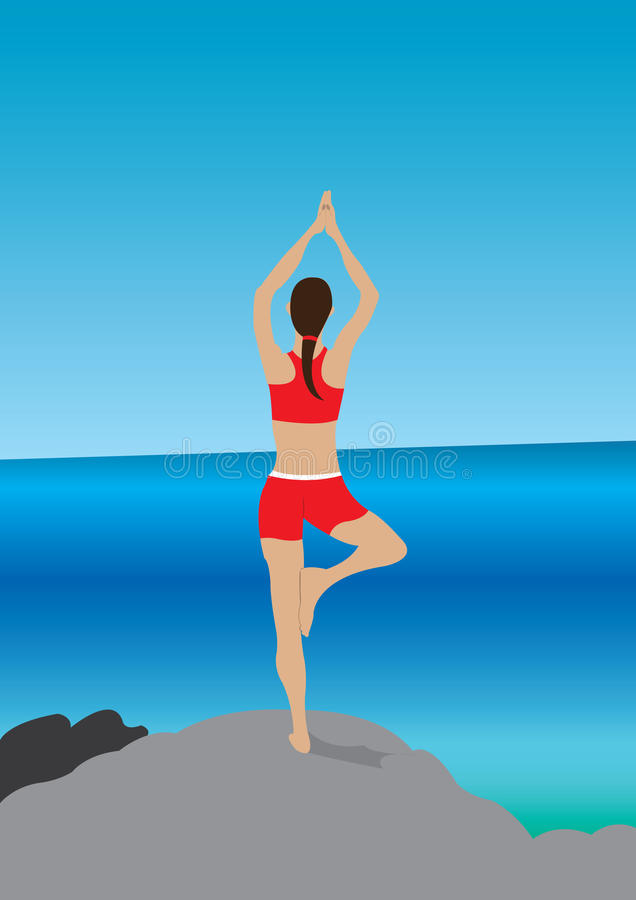 Yoga at the beach royalty free stock photography