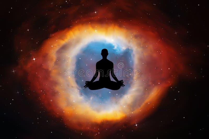 Yoga bij nacht stock illustratie