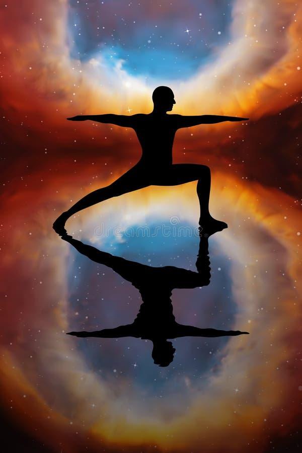 Yoga bij nacht royalty-vrije illustratie