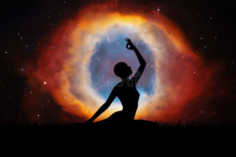 Yoga bij nacht vector illustratie
