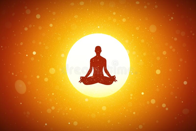 Yoga bij rode zonsondergang vector illustratie
