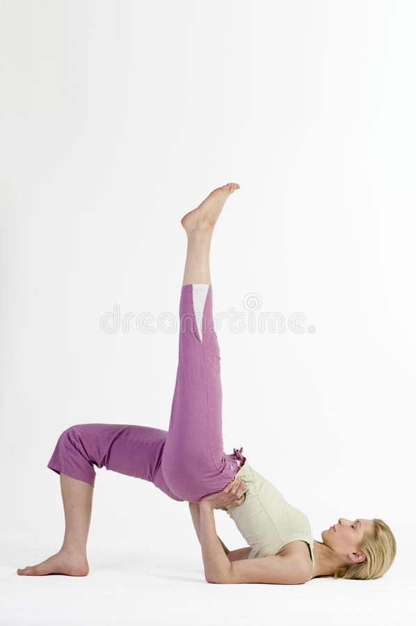 Yoga bridge left close stock photography