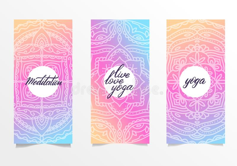 Yoga bright background. Template with mandala in bright color for banners, sites of spiritual development, posters. Set of 3. Leaflets with gradient mandalas stock images