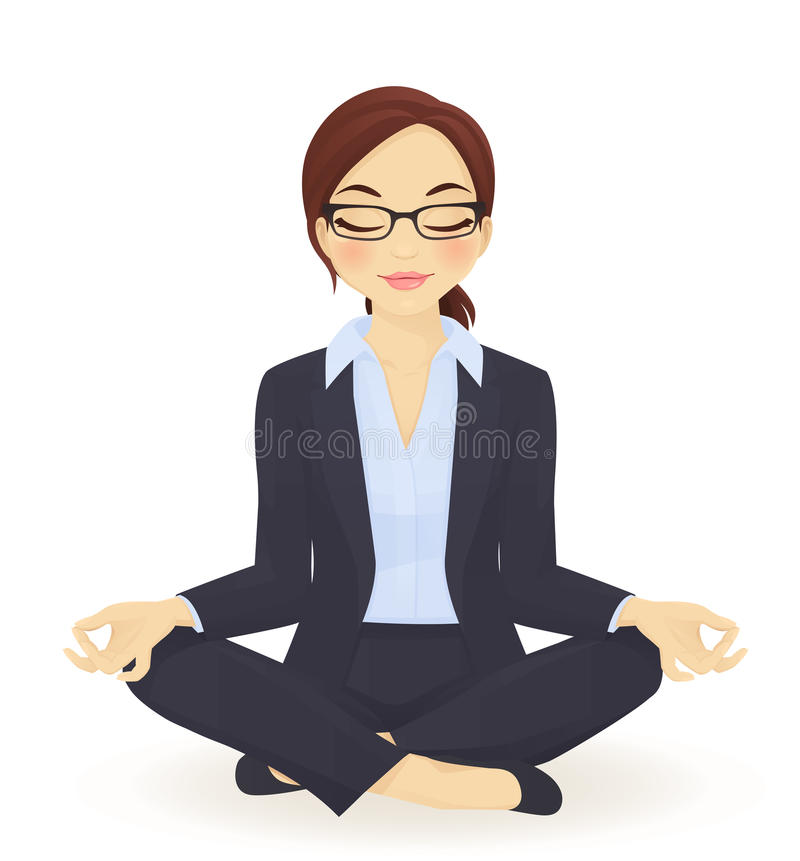 Yoga business woman. Young business woman in yoga lotus pose stock illustration