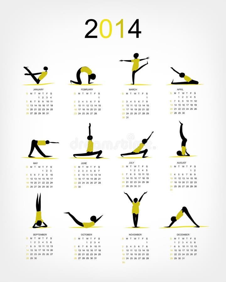 Download Yoga Calendar 2014 For Your Design Stock Vector - Illustration of calendar, body: 35606573