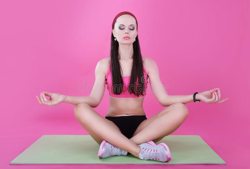 Yoga. Calm Woman Relaxing with Closed Eyes. Meditation. Yoga. Woman Relaxing with Closed Eyes. Meditation royalty free stock image