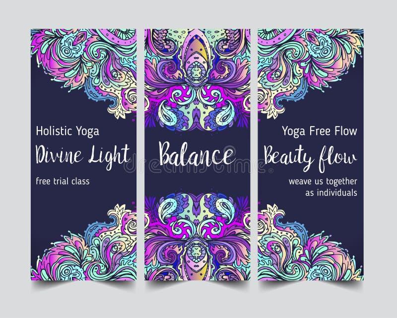 Yoga card design. Colorful template for spiritual retreat or yoga studio. Ornamental business cards, oriental pattern. Vector vector illustration