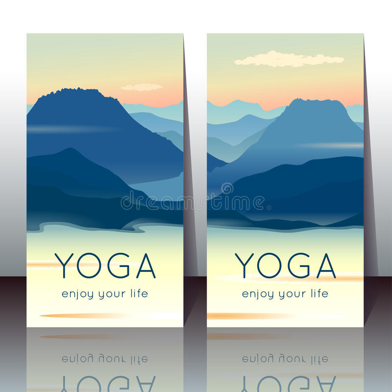 Yoga cards with morning mountain landscape stock illustration