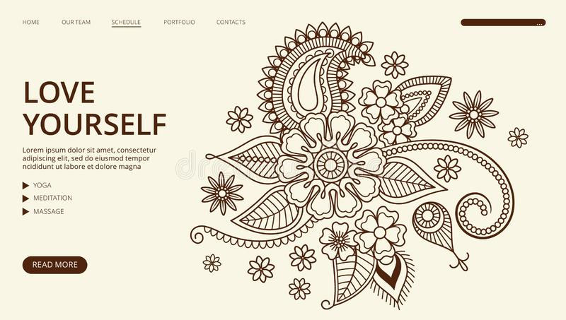 Yoga center landing page. Vector floral ornament web banner. Love yourself page template stock illustration