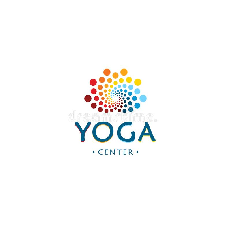 Yoga center logo. Abstract lotus beauty flower. Round digital shape. Colorful circles vector logotype. stock illustration
