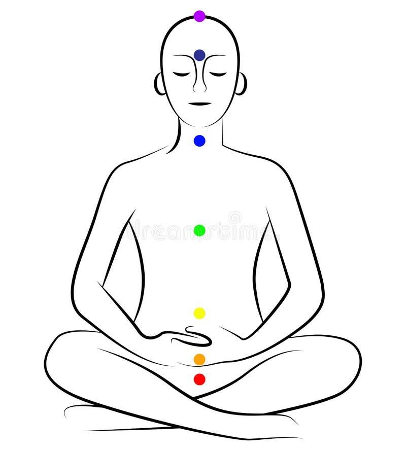 Yoga chakras. Illustration of yoga pose with chakras stock illustration