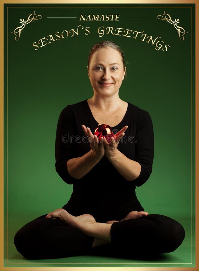 Yoga christmas greeting stock photography
