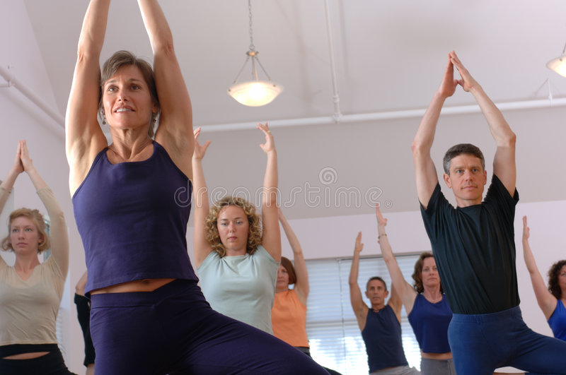 Download Yoga Class stock image. Image of content, balance, barefoot - 7060959