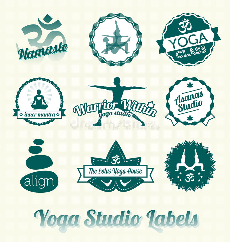 Yoga Class Labels and Icons. Collection of retro style yoga class labels and icons stock illustration
