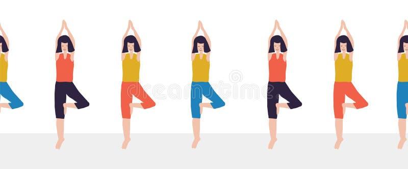 Yoga class seamless vector border. Women Fitness class repeating illustration of woman doing yoga tree pose. Sport event stock illustration