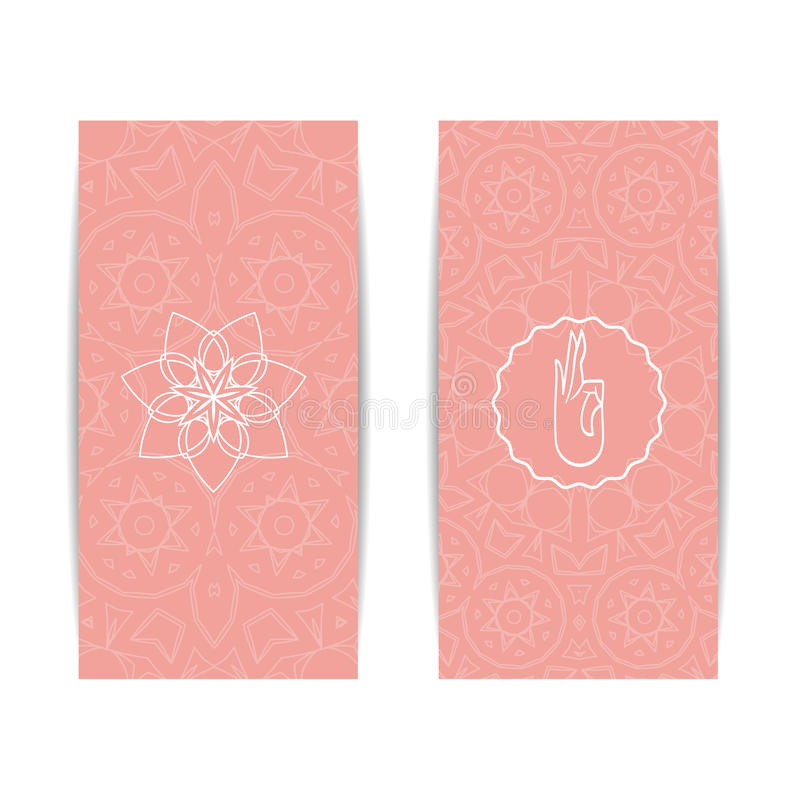 Yoga class and studio template banner stock vector illustration of yoga class template set of vertical pink flyers with chakra and mandala symbols design for yoga class studio spa center classes magazine invitation stopboris Gallery
