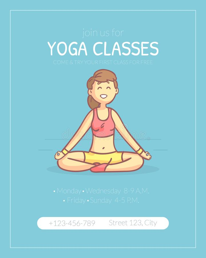 Yoga Classes Banner Template, Girl Practicing Yoga, Healthy Lifestyle Vector Illustration royalty free illustration