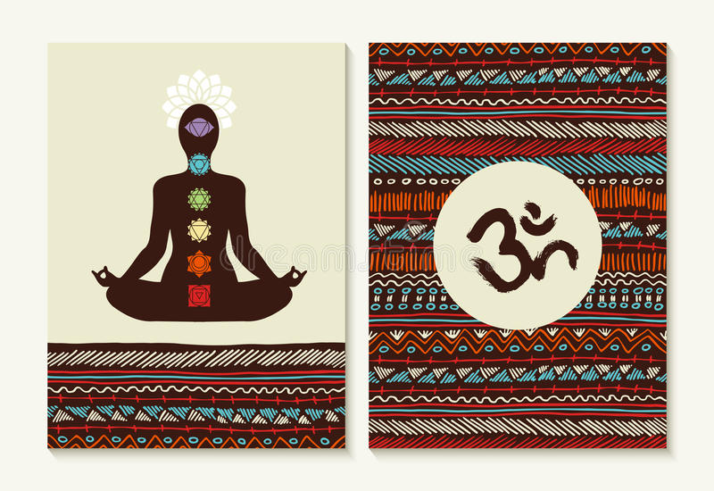 Yoga concept set boho background and chakra icons. Chakra concept set with body silhouette doing lotus yoga pose and boho background designs. EPS10 vector stock illustration