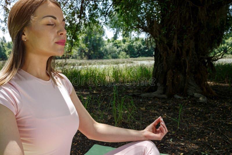 Yoga - controleer uw mening met meditatie royalty-vrije stock afbeelding