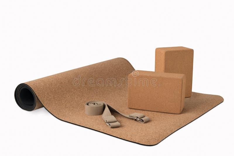 Yoga Cork Mat, de los bloques del premio resbalón Eco no amistoso fotografía de archivo libre de regalías