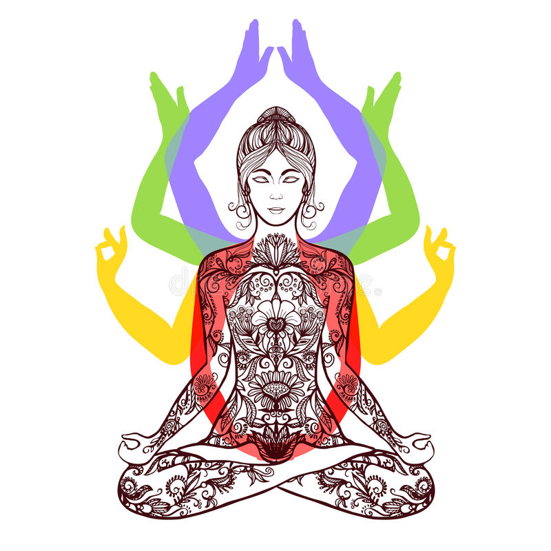 Yoga, das in Lotos asana Ikone meditiert stock abbildung