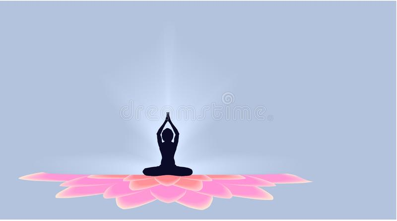 Yoga Day Banner With Dark Yogi On Beautiful Gradient Full Pink Lotus Petals On Blue Background Vector Design Stock Vector Illustration Of Clean Design 119067460